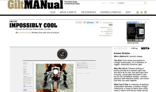 Featured in the Gilt MANual. Along with a few other great blogs. Check it out here.