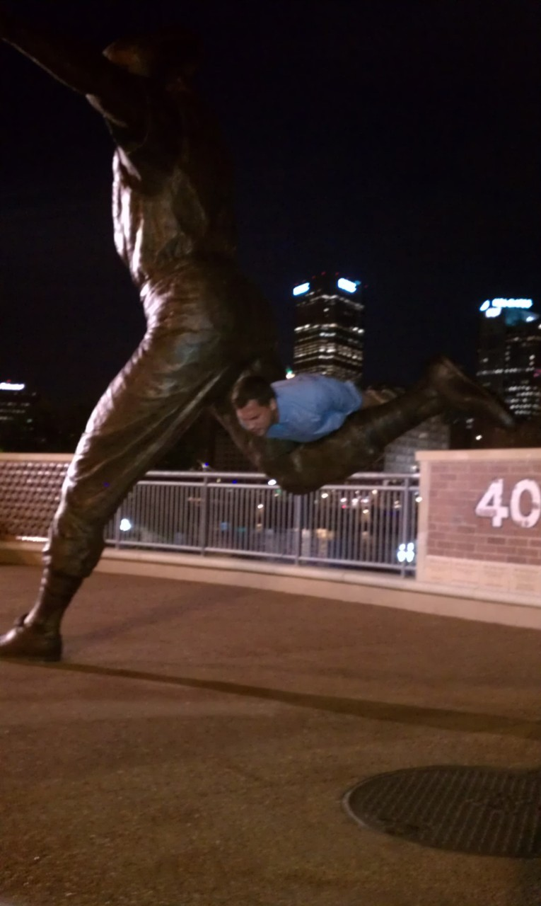 Mike doing the Bill Mazeroski Statue Plank at PNC Park