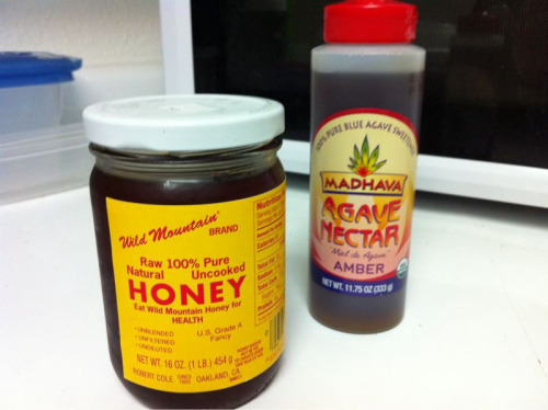 HONEY = NATURAL (and yummy <3)  Agave nectar= PROCESSED FRAUD Agave is not as healthy as the hype. It is highly processed and from what I've read, can have the same effect on the body as high-fructose corn syrup.  To make agave nectar, juice from the agave plant has to be heated to break down long-chain sugars into mostly fructose units. This is the same method that converts corn starch into High-fructose corn syrup using genetically modified enzymes, caustic acids, clarifiers, filtration chemicals, etc. Concentrated fructose can have many unhealthy side effects and cause weight gain. Fructose is digested in the liver which makes fats rather than releasing sugar into your bloodstream. Inhibits leptin, a hormone which tells your body you are full promotes visceral fat gain I know the sources are just other blogs, but they seem pretty reliable and quote more professional sources. http://www.foodrenegade.com/agave-nectar-good-or-bad/  http://www.globalhealingcenter.com/natural-health/is-agave-nectar-safe/  xGeri