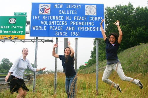 peacecorps:  Peace Corps' New York Regional Recruitment office staff celebrate the unveiling of the updated New Jersey highway sign commemorating the service of NJ Peace Corps Volunteers in honor of the Peace Corps' 50th Anniversary  Alright New Jersey!