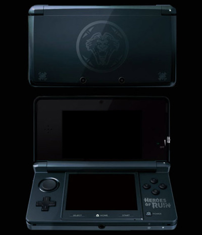 galaxynextdoor:  Custom Heroes of Ruin 3DS featuring an elephant gray shell and branding from n-Space's Torchlight-esque action RPG (with four-player online co-op!). To mark the launch of the game's official site, n-Space announced a contest to give away this one-off system to a random person who registers at the community page and fills in an entry form before July 31st. That's one sharp looking 3DS. Via: tinycartridge