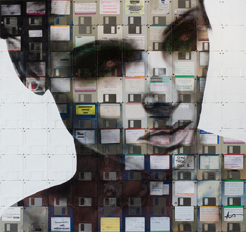 karenh:  Nick Gentry creates portraits by painting on obsolete floppy disks. The end result looks incredible.