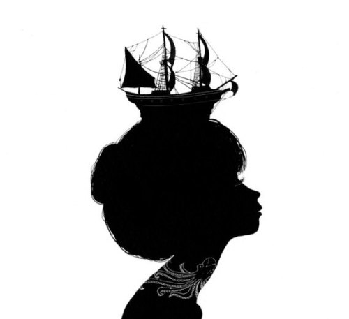 Boat Hat Silhouette 9 x 12 print by charmaineolivia on Etsy