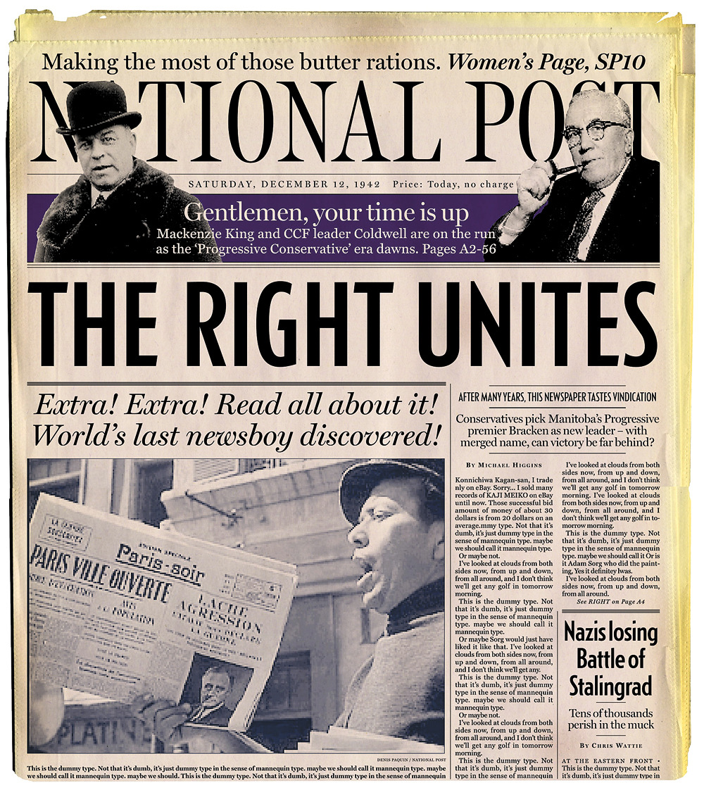On the occasion of our fifth anniversary, way back in 2003, the National Post put together a series of front pages, wondering what they would have looked if we'd been around in previous ages. They'd been long forgotten until a dusty poster turned up under a reporter's desk and now revived here. (Pages by Rob Mckenzie and Kagan McLeod)Previous: National Post, 1929Previous: National Post, 1867Previous: Medieval PostPrevious: Imperial PostPrevious: Prehistoric Post