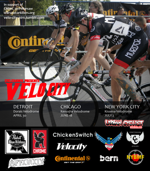 THIS WEEKEND AT KISSENA VELODROME   The final race of the 2011 Velo City Tour!  « Over six years Velo City has rocked nine U.S. Velodromes and sent a total of 24 North American Bike Messengers to the Cycle Messenger World Championships. This year we are proud to deliver two of North America's best to Warsaw, Poland for the 19th Annual CMWC. »