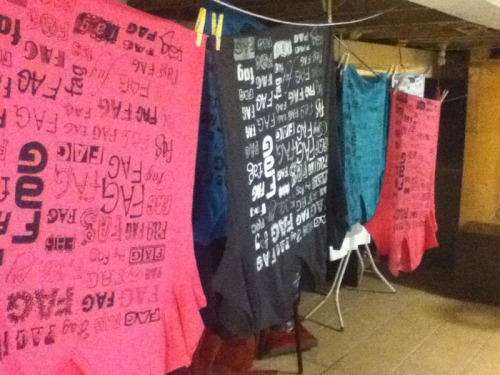 I'm fagging up the basement. Seven of fifteen t-shirts done (in about five hours), which is impressive/surprising due to my limited space. Will do the other eight tomorrow, and will be selling them all weekend/until they're gone.  If you'd like to reserve one, I have varying sizes and colours, so e-mail me if you're interested (elija.montgomery@gmail.com).