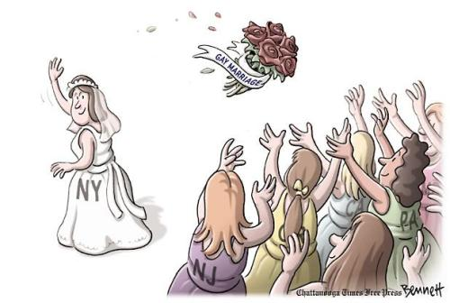 "[cartoon of a bride with NY on her dress throwing a bouquet of roses with a ""gay marriage"" ribbon attached, to a crowd of female wedding guests with various states on their dresses: ""NJ, CA, PA""]"
