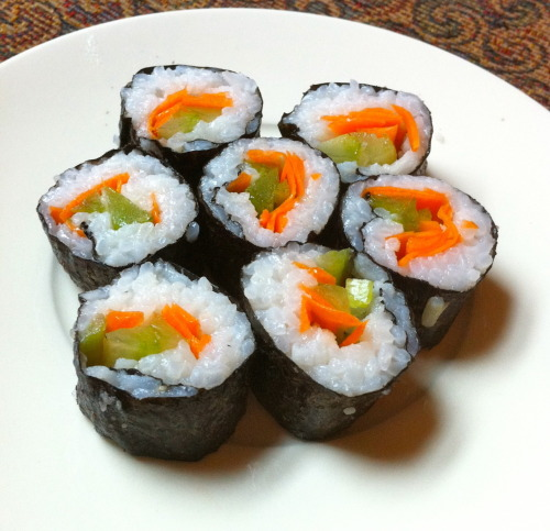 My second sushi-making attempt (with a different kind of rice). I'm on a roll! *rimshot*