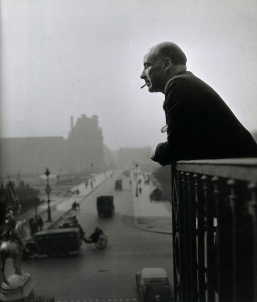 liquidnight:  Robert Doisneau Francis Ponge on the balcony of the Action offices, 1945 From Paris