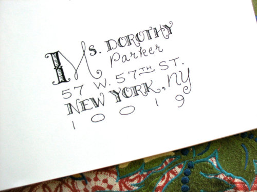 "New lettering style added to my Etsy shop for envelope addressing. I like to call this ""The Baudelaire Mélange"" (even though this image is all about Dorothy Parker). Giving your wedding & party invitations some personality!   More (Baudelairean) images & info in my LetterBe Etsy shop HERE."