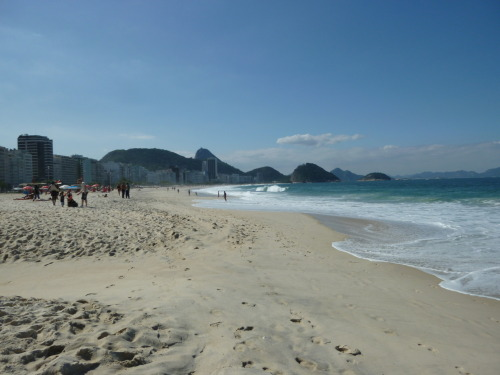 The beaches of Copacabana in Rio de Janeiro, Brazil. 2 blocks away from where I stay.