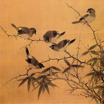 Bamboo and birds (28.7*28.2 cm, Southern Song)