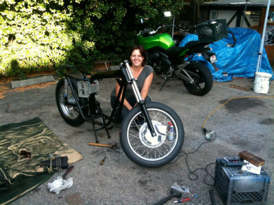 Jennifer Lankford (Portland Oregon) and her 1972 Triumph Bonneville project in progress.  Portland be chocked FULL of awesome wrenchin' moto ladies!