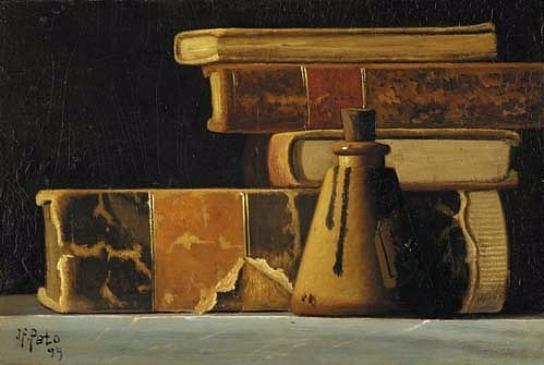 stilllifequickheart: 1899 John Frederick Peto (American 1854-1907) ~ Still Life with Books and Inkwell