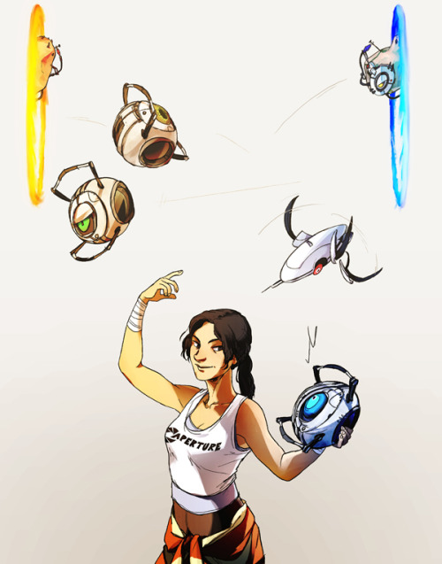 do you get it she's like juggling with portals