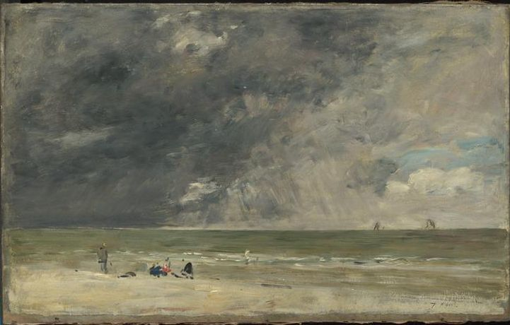 Plage à Trouville Description : Titre anglais : Beach at Trouville, vers 1890 Auteur : Boudin Louis-Eugène (1824-1898) link