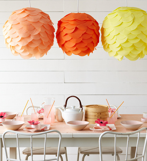 appleinmyheart:  DIY PAPER LANTERNS You can find instructions how to make yourself on the Martha Stewart website.