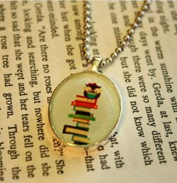 "outofordi-n-arymind:  ""Bookish Owl Too"" pendant by Stephanie Fizer. The illustration and pendant are made by her.  Personal Note: Do not forget to check her Etsy shop out! She is very talented and belongs to my ""The Illustrator-Who-Shall-Be-Followed"" list!"