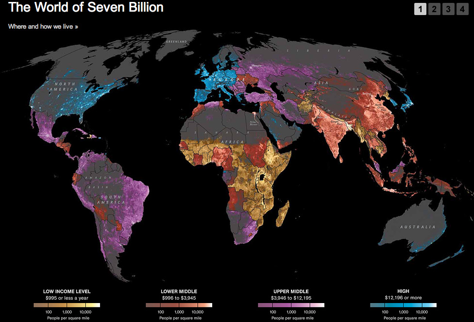 covestor:  Here's an amazing new graphic from National Geographic that maps income levels on top of world population densities. In a glance you can see where humans live on earth and at what wealth level. Click through for the full thing, plus more demographic information (on pages 2-4) broken down by income level: (via Where and on how much money the world lives ‐ Covestor)