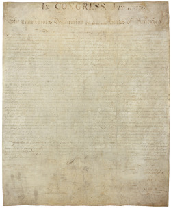 "todaysdocument:  July 4 - Declaration of Independence  Engrossed Declaration of Independence, August 2, 1776; Miscellaneous Papers of the Continental Congress  Drafted by Thomas Jefferson between June 11 and June 28, 1776, the Second Continental Congress adopted the Declaration of Independence on July 4, 1776.  The Declaration set forth a list of grievances of the American colonies against the British Crown and declared they were breaking  from British rule to form free and independent states. On July 19,  1776, Congress resolved that the Declaration passed on the 4th be fairly  engrossed on parchment with the title and stile [sic] ""The unanimous  declaration of the thirteen United States of America"" and that the same,  when engrossed, be signed by every member of Congress.  The engrossing  was most likely done by Timothy Matlack, an assistant to Charles  Thomson, Secretary of the Congress.  Although it bears the date ""July 4,  1776,"" the engrossed Declaration was signed on August 2, 1776, by  members of the Continental Congress who were present that day and later  by other members of Congress.  A total of 56 delegates eventually signed  the document."