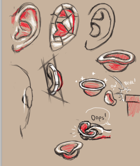 illustrations of how I compare the human ear with a unfinished bowl…
