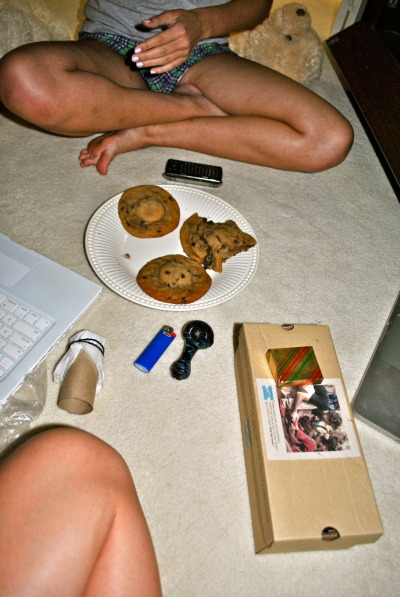 liesspeakthetruth:  typical night.  That looks like a chocolate chip cookie with a goddamn oreo in it. I've got to tell my buddy E about this. Throw in some bacon, and some other extras and we'll have our selves an epic cookie.