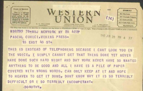 otherpress:  A telegram from Dorothy Parker to her editor Pascal Covici (via)