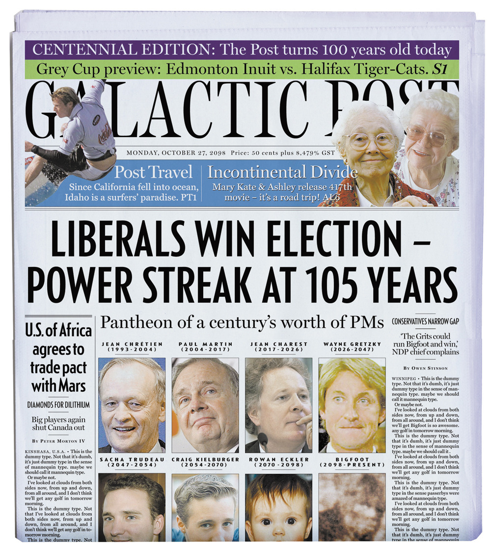 On the occasion of our fifth anniversary, way back in 2003, the National Post put together a series of front pages, wondering what they would have looked if we'd been around in previous ages. They'd been long forgotten until a dusty poster turned up under a reporter's desk and now revived here. (Pages by Rob Mckenzie and Kagan McLeod)This is the last of our faux front pages, Good thing too as we may have been a bit off in our predictions.Previous: National Post, 1967Previous: National Post, 1942Previous: National Post, 1929Previous: National Post, 1867Previous: Medieval PostPrevious: Imperial PostPrevious: Prehistoric Post