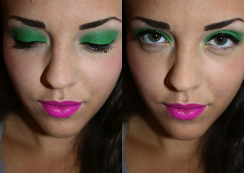 I did this colorful look today. Green eyes compared with bright pink lips!
