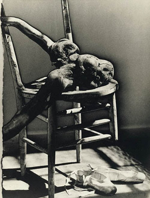 Broken Chair with Stump and Ballet Shoes by Man Ray, 1942   I can see that I'm further living proof (as though any were necessary) of Pavlov's long-ago experiments.  If any of you post Man Ray, I'll reblog it.  It's a reflex.  I can't help myself.