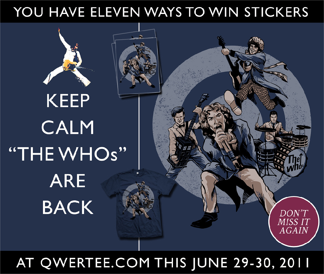 11 Ways to Win Stickers 1) 'Like' Zerobriant Designs on facebook @ facebook.com/zerobriant and 'share' this photo with your friends!2) 'Like' RTOfirefly Designs on facebook @ facebook.com/rtofirefly and 'share' this photo with your friends!3) 'Like' and post a comment on the Qwertee facebook post regarding this sale & promotion4) Follow @rtofirefly on Twitter5) Follow @zerobriant on Twitter6) Send a Tweet on June/29th about the sale, and include @qwertee @rtofirefly @zerobriant7) Follow RTOFirefly on Tumblr at rtofirefly.tumblr.com8) Follow Zerobriant on Tumblr  and Re-blog this or Website at zerobriantdesigns.tumblr.com and zerobriant.com9) 'Watch' RTOFirefly on deviantart @ rtofirefly.deviantart.com10) 'Watch' Zerobriant on deviantart @ zerobriant.deviantart.com11) Post a comment on the main page of Qwertee.com during the sale on June 29th, 2011