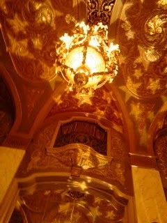 Party at the Paramount was wonderful. Here's the ceiling of the main lobby projected with stars for Lucia Neare's performance. Luminous clocks and white roses to end the evening's performances, which featured African rhythms and song, a capella harmonizing, violin, chamber music and more.  This lovely photo may be found on the Paramount Importance blog with a recap. The Seattle Theatre Group (our host at the Paramount) has a recap too - see it here.  Thanks everybody!