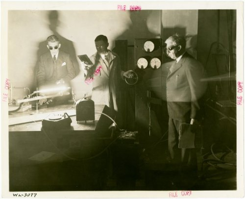 "All three of us need goggles like that. nypl:  Toilers in the Westinghouse Lamp Division Research Department perform the firsts tests on ""the largest mercury vapor lamp ever built"" in this photo from our 1939-40 World's Fair collection. More than 60 years later, some similar research and development went on right in our own Science, Industry and Business Library, when Ground-Lab co-founder, Justin Downs, was developing another record-breaking lamp."