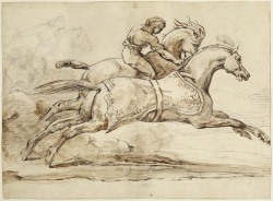 Scene from the Race of the Barberi Horses, unknown Théodore Géricault (French) Drawing, pen and brown ink and brown wash, over underdrawing in black chalk, 35.3 x 48.4 cm Purchased as a Gift of David Broadhurst and the Marvin Gelber Fund, 2010