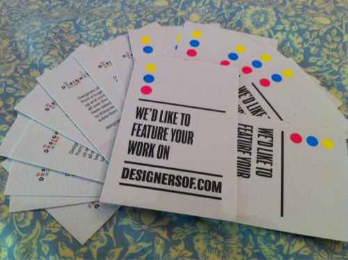 designersof:  Our cards arrived today in the post. We will be giving them out next week at D&AD new blood and New designers. See you there!  thought you might be interested