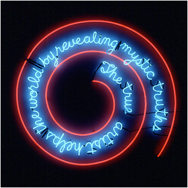 "sympathyfortheartgallery:  taumazo:  Bruce Nauman, 1967 The True Artist Helps the World by Revealing Mystic Truths ""Whether or not we—or even Nauman—agree with this statement,  the underlying subtext of the piece emphasizes the way in which the  audience, artist, and culture at large are involved in the resonance a  work of art will ultimately have.""  This hangs at the entrance of the Kröller Möller Museum in the Netherlands, where i've seen it at an impressionable age and it has influenced me enormously."
