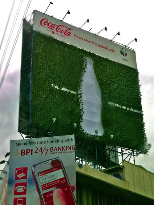 Coca-Cola + WWF - plant billboard absorbs air pollution.  Photo: © WWF / Lory Tan.