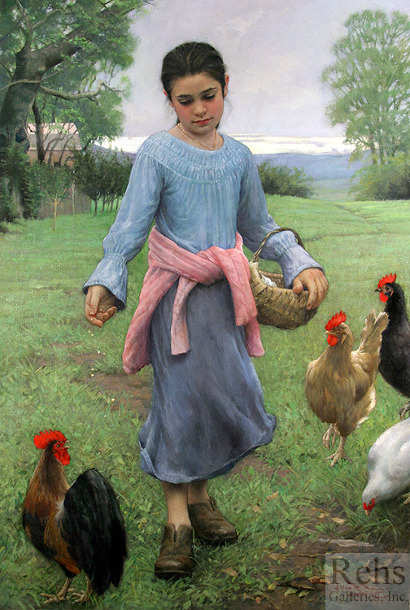 indigodreams: Allan R. Banks (American, contemporary) ~ Girl Feeding Her Chickens