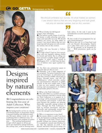2009. Aidah Fontenot is featured in Council Magazine. Interview by Nicole Gill