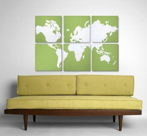 kateburton:  Custom World Map Collection of 6 - Original Silk Screen Prints
