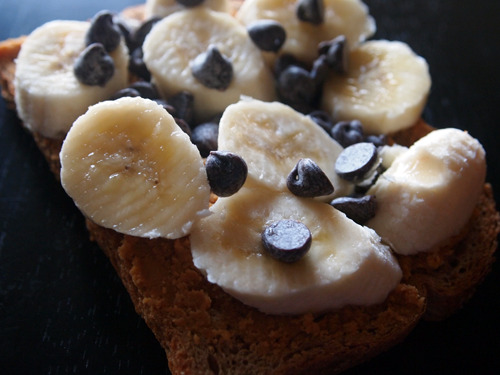 double fiber bread, pb2, banana, semi-sweet chocolate chips.