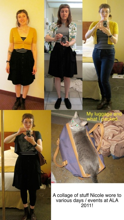 Here are some outfits I wore at ALA 2011 :)  I might look like a stylish bumblebee in a couple….. Community College Librarian Dallas, TX