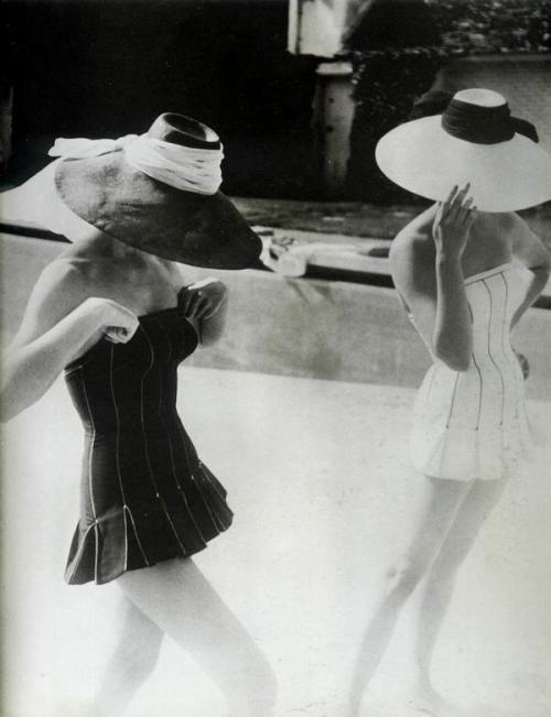 theniftyfifties:  Lovely Dior bathing suits, 1954.  Photo by Henry Clarke.