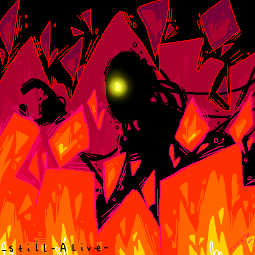 another Portal oekaki doodle thingy for you. oh no! GLaDOS is on fire! not really. she's just herp-a-derping around in it. Silly robot.