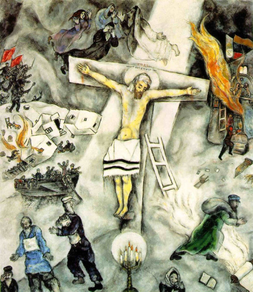 "Marc Chagall, White Crucifixion, 1938oil on canvas  Chagall painted ""White Crucifixion"" to draw attention to a recent series of political events perpetrated by the ruling National Socialist party in Germany. Both as a Jew and as an abstract artist, Chagall was a target of Hitler's art censorship policies. His dealer in Germany, Herwarth Walden, was forced to close his Berlin gallery (Der Sturm), cease publication of its influential newsletter, and flee to the Soviet Union in 1932. In 1937, the Nazis undertook a systematic inventory of modern art in German museums, removing some 16,000 works unacceptable to their taste to use in propaganda campaigns, to destroy, or to sell outside the country. Four works by Chagall were among those included in the 'Jewish' room of the infamous 'Degenerate Art' exhibition staged in Munich at the end of 1937, which mocked deviations from Nazi Party art standards. Meanwhile, anti-Jewish policies in Germany escalated to an unthinkable level. Following the September 1935 laws to curtail the civil rights of Jews, the Nazis in 1938 took a Jewish census and registered all Jewish businesses as preliminaries to plans for ethnic genocide. In June and August of that year the synagogues in Munich and Nuremberg were destroyed, and on November 9, the so-called Crystal Night, these anti-semitic atrocities reached a climax. In reaction, Chagall conceived a painting of the martyrdom of the Jew Jesus as a universal symbol for religious persecution. Instead of a crown of thorns, the Jesus on Chagall's picture wears a head-cloth and a prayer shawl around his loins. The round halo around his head is repeated by the round glow around the Menorah at his feet. Mourning his persecution, figures of the Hebrew patriarchs and the matriarch Rachel appear in the smoke-filled nightime sky. All around the cross, Chagall has depicted a bleak snowscape with horrific scenes of modern Germany. In the background to the right, a soldier opens the doors of a flaming Torah ark removed from a pillaged synagogue, the contents of which litter the foreground. Both the flag above the synagogue and the soldier's armband originally were decorated with inverted swastikas. One of the fleeing figures in the foreground at the left wears a sign which originally bore the inscription ""Ich bin Jude"" ('I am a Jew'). In the background above is a ship full of refugees trying ineffectively to flee a burning village, destroyed before the arrival of a liberating People's Army from the Soviet Union carrying red flags; this last detail was wishful thinking, motivated by the antagonism of Stalin's government toward Hitler's before 1939. Included in an exbition of Chagall's works in Paris in early 1940, the ""White Crucifixion"" was designed to raise awareness of the events in Hitler's Germany and their implications for mankind in general. Evidently the artist decided to paint over the most explicit historical details after the invasion of France in May 1940 or after the German army's occupation of Paris, begun in June 1940. Chagall himself fled the first occupied zone for Marseilles, and with the help to (sic) the Museum of Modern Art in New York, escaped to his country for the duration of the war. This historic painting is discussed in detail in an article by Ziva Amishai-Maisels, Professor at the Hebrew University of Jerusalem, published in the Art Institute's journal ""Museum Studies"" (vol. 17, no. 2). (via The Amica Library)"