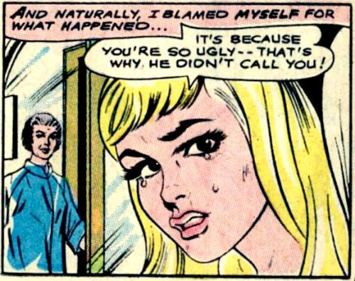 comicallyvintage:  Stop blaming yourself, he was drunk and he lost his iPhone (TM).  no, it's because i'm ugly and bad in bed.