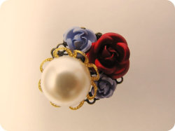 Snow White - periwinkle blue and apple red floral garden party ring - by Nikki Montenegro on Etsy :)