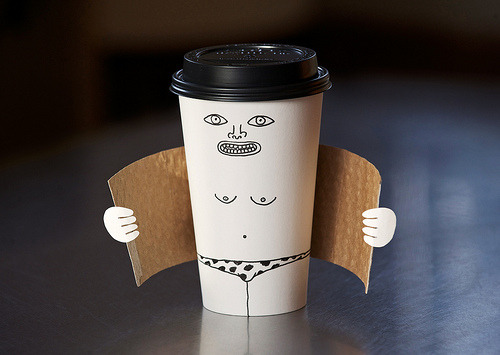 andreirobu:  Designersgotoheaven.com - Love this exhibitionist coffee cup by Brock Davis aka Laser Bread.