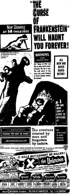 Ad for The Curse Of Frankenstein and X The Unknown