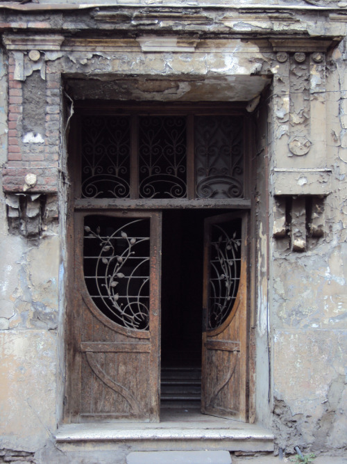 decoarchitecture:  Art Nouveau Doors, Tbilisi, Georgiaby dputik Not much longer for this world, I'd guess.